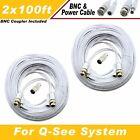 WHITE PREMIUM 200Ft CCTV SURVEILLANCE BNC EXTENSION CABLES FOR Q-SEE
