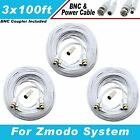 WHITE PREMIUM 300Ft CCTV SURVEILLANCE BNC EXTENSION CABLES FOR ZMODO SYSTEMS