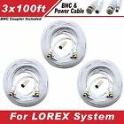 WHITE PREMIUM 300Ft CCTV SURVEILLANCE BNC EXTENSION CABLES FOR LOREX SYSTEMS