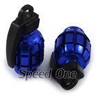 Car Aluminum Tire Air Stem Valve Caps Wheel Airtight Hand Grenade Style Blue 4pc