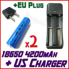 EU Multi Charger +2x 18650 4200mAh Rechargeable battery