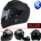 NITEK Flat Black Full Face Motorcycle Bluetooth Helmet Street Fighter DOT ECE