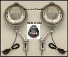 Reo Fog Lights Made in USA Reo Logo 12 volt 6 inch Chrome Brackets Clear