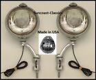 Lincoln Fog Lights Made in USA  6 volt 6 inch W Chrome Brackets -Clear