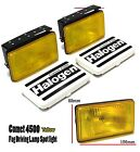 SUV H3 12v 55w Fog Drivin Yellow Lights Spot Lamp + Protective Stone Shield Pair