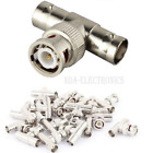 BNC 1 Male To 2 Female T Type Splitter CCTV Cameras Connector Adapter LOT 5 pcs