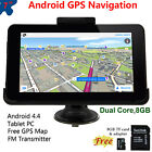 "Portable 7"" Android 4.4 GPS Navigation Wifi Dual Core Tablet Free USA Map 8GB TF"