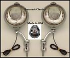 Mercury Fog Lights Made in USA Mercury Logo 6 volt 6 inch Chrome Brackets Clear