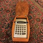 Vintage  Calculator- In Solid Antique Wooden Box And Sterling Silver On TOP