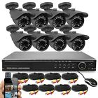 16-Channel D1 DVR Security System w 8X Bullet Camera 700TVL IR Outdoor 1TB HDD