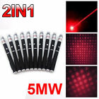 10PC 1MW 650nm 10Miles 2in1 Military Red Laser Pointer Pen Visible Beam Light US