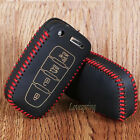 Leather 4Btn Smart Key Fob Case Cover for HYUNDAI Elantra Sonata Veloster Azera