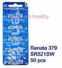 Renata SR521SW 379 Silver Oxide button Battery x 50 pcs Swiss Made FREE Post