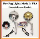 Reo Fog Lights Made in USA Reo Logo 6 volt w/ Brackets