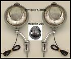 Studebaker Fog Lights Made in USA  6 volt 6 inch Chrome Brackets Clear