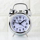 Steel Silver Type Hammer Bell Table Clock Analog Home Decor Modern Style moo