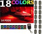 Universal Performance Remote Snowmobile 14pc 84 LED Neon Accent Lights Pods Kit