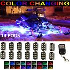 Wireless Remote 18Color Changing Led Snowmobile 14pc Pods Neon Glow Lighting Kit