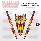 2004 Ski-doo Rev MXZ500SS Black Hood Panel Reproduction Vinyl Decal Set 3Pc DPM
