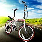 20inch Folding Bike 6 Speed Fold Storage School College Mini Bicycle Sports Red