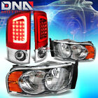 CHROME HEADLIGHT+AMBER CORNER+RED 3D LED BRAKE TAIL LIGHT FIT 02-05 DODGE RAM