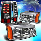 FOR 03-07 CHEVY SILVERADO CHROME CRYSTAL HEADLIGHT+CORNER+BLACK LED TAIL LAMP