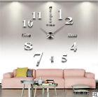 Large Wall Mute Clock 3D Mirror Surface Sticker Modern DIY Art Design Home Decor