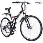 "26"" Folding Mountain Bike 7 Speed Bicycle Shimano Hybrid Suspension Sports Black"