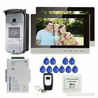 "10"" Video Door Phone Intercom System 1V2 +RFID Doorbell Camera+Remote+2 Monitors"