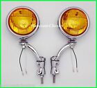 """12 Volt Amber 5"""" Fog Lights with Chrome Brackets  H3 Real Glass  - Cadillac"""
