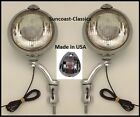GM Fog Lights Made in USA GM Logo 12 volt 6 inch Chrome Brackets - Clear Glass