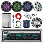 """CD BT Receiver, Remote,4x 6.5"""" LED Speakers, Controller, Amp,Amp Power Kit, Wire"""