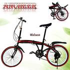 20 inch Folding Bike Variable Speed Stainless Steel 6 Gears Bicycle Shipping ET