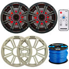 "Kicker 41KM654LCW KM65 6.5"" Marine Speakers+41KMLC LED Remote+50' Marine Wire"
