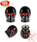 4pcs Black Skull Style Antirust Motorcycle Bike Car Tires Valve Stem Caps