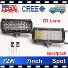 2X 7D+ Tri-Row 7inch 72W CREE LED Work Light Bar Spot Lamp Jeep Truck 4WD PK 36W