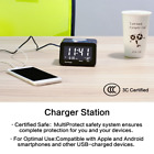 Alarm Clock Charger with 2 USB Ports and 2 Outlets Charging Station & FM Radio