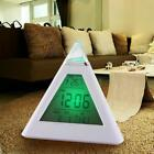 LED Color Electronic Pyramid Digital LCD Alarm Clock Thermometer Time Display