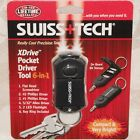Swiss Tech Pocket Driver Set Key Chain with Flash Light 6 in 1 Tool New
