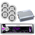 "6 White Dual 6.5"" Speakers, 400W Amplifier, Kenwood USB Mp3 CD iPod Marine Radio"