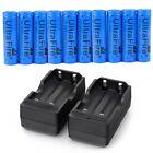 10pc 18650 3.7V Li-ion 5000mAh Ultra Power Battery +2pcs Battery Charger