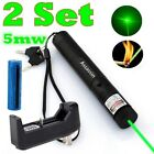 2PC 5mw 532nm Green Laser Pointer Military Powerful Laser Pen+Battery+Charger