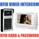 """WIRED 7"""" VIDEO DOOR PHONE INTERCOM SYSTEM + RFID CARD AND PASSWORD ACCESS CAMERA"""