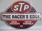STP The Racer's Edge Embossed Die Cut Tin  Garage Mechanic Shop Oil Gas Ford