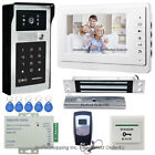 "7"" Wired Video Door Phone Intercom System+RFID Password Camera+Magnetic Lock TOP"