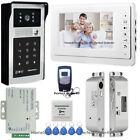 """7"""" Video Door Phone Intercom System+RFID Password Camera Keypad+Drop Bolt Lock"""