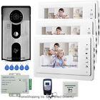 "7"" Video Door Phone Intercom System Video Intercom 3 Monitors+RFID Access Camera"