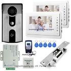 "7"" Video Door Phone Intercom System 2 Monitors+RFID Camera+Electric Strike Lock"