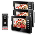 "Wired 7"" Video Door Phone Doorbell System Video Intercom+3Monitors Night Version"