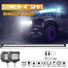 52inch 5200W Single Row LED WORK LIGHT BAR SPOT FLOOD COMBO UTE OFFROAD 4X4 ATV